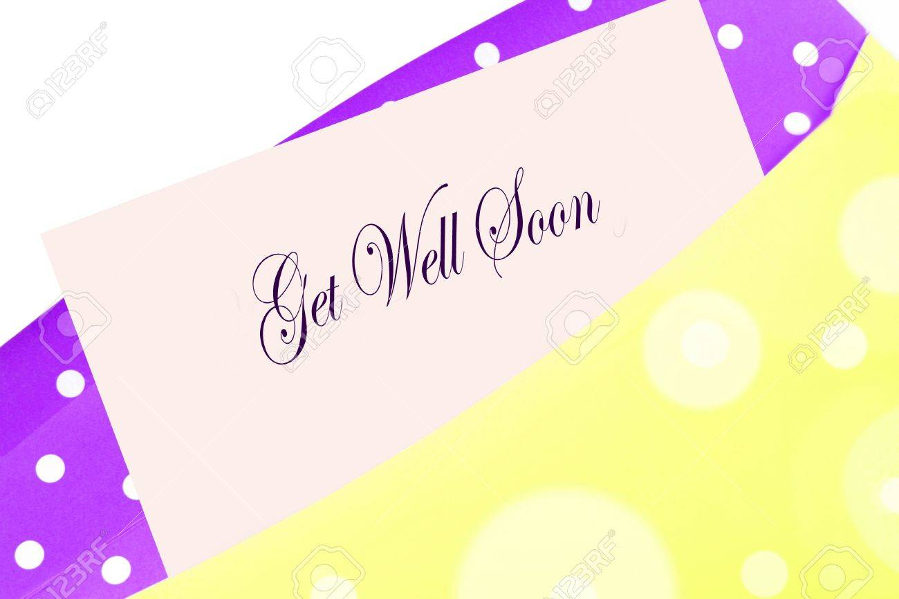 sending wellwishes with a get well soon card note or letter in yellow and purple