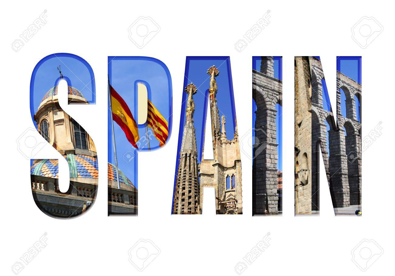 Spain Type With Different Tourist Areas Attractions Stock Photo ...