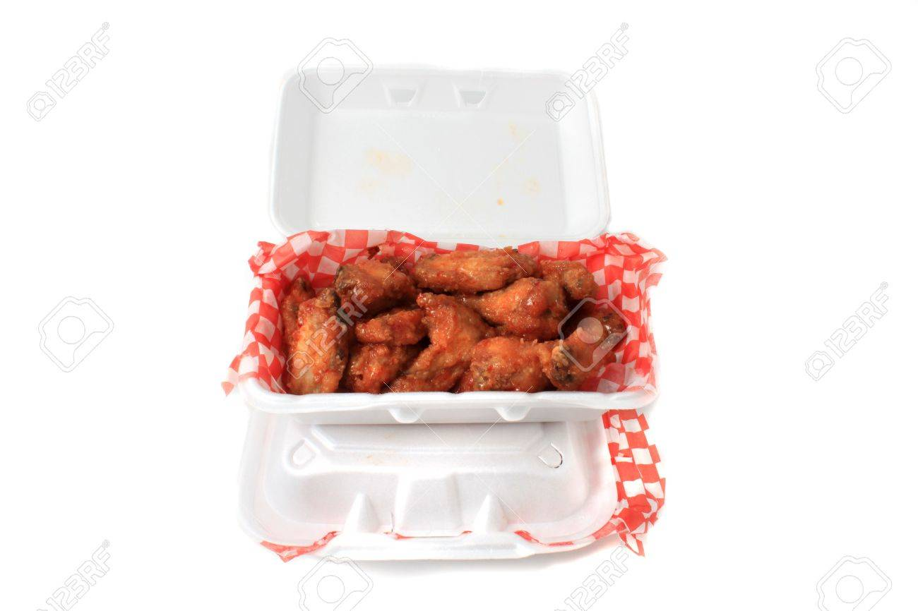 Take Out Thai Chilli Chicken Wings In Package On A White ...