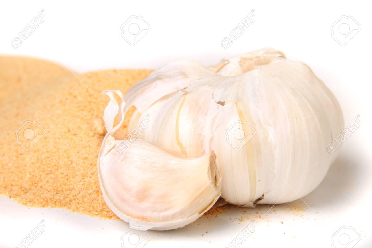 Full Garlic clove bulb and it's powder, a good antibiotic used