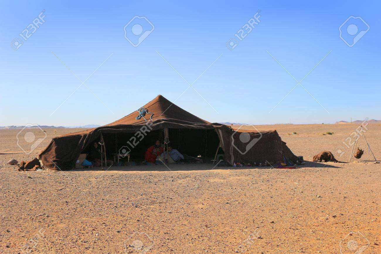 sahara desert morocco march 1 2016 family living in a berber