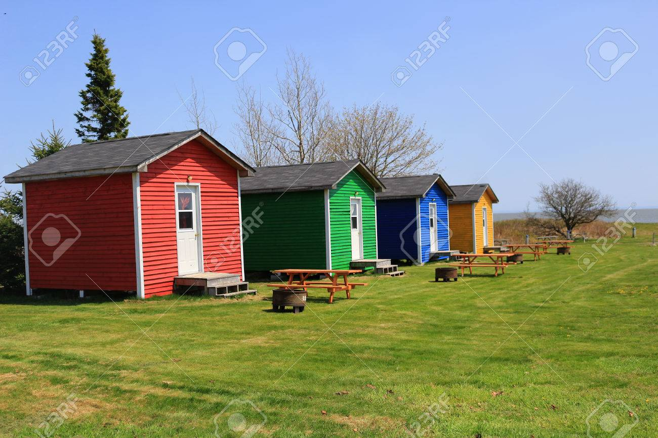 Strange Colorful One Room Shacks Or Cabins With Picnic Tables And Fire Download Free Architecture Designs Scobabritishbridgeorg