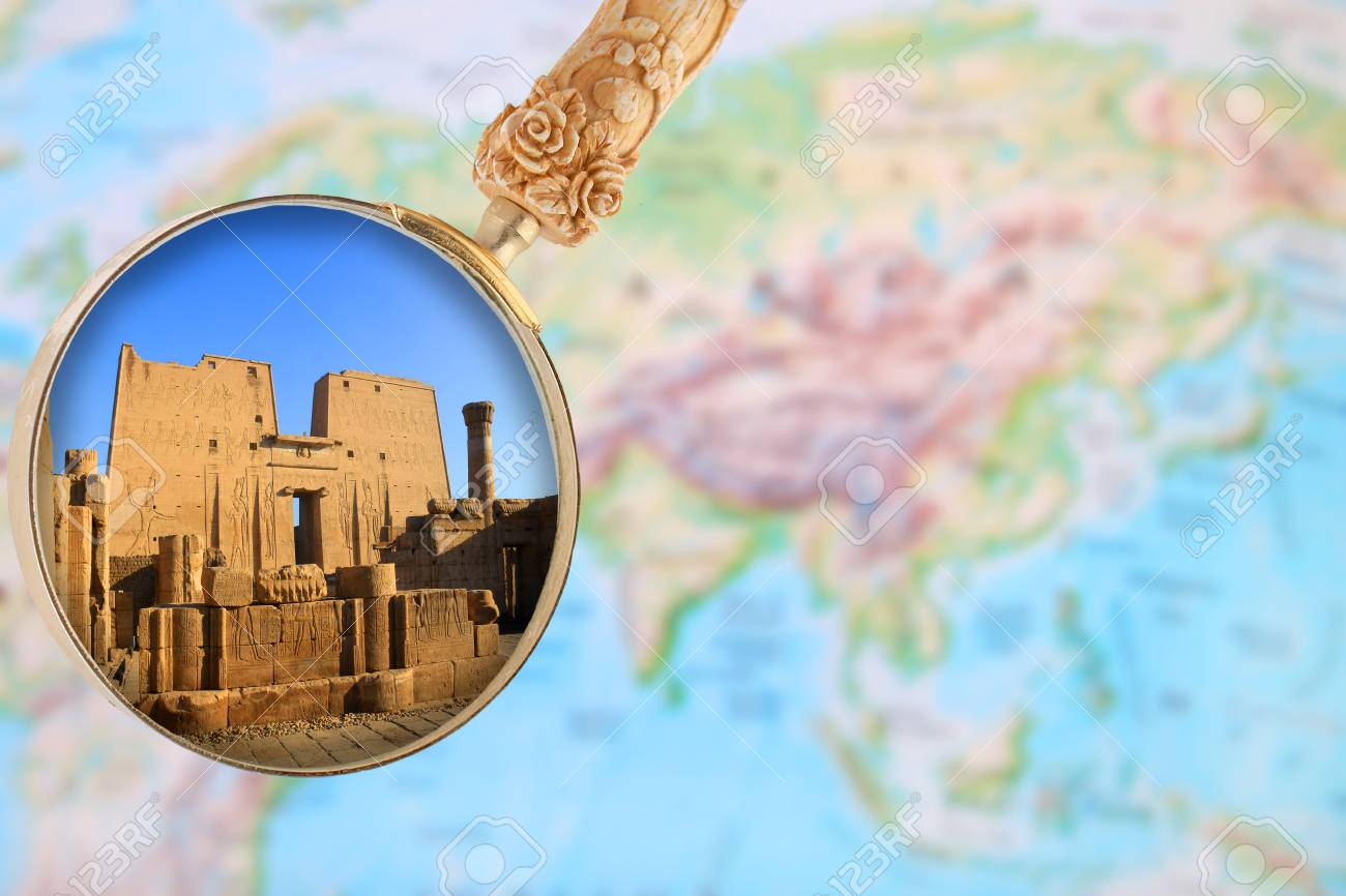 Looking in on karnak temple in egypt africa with a magnifying looking in on karnak temple in egypt africa with a magnifying glass over a world gumiabroncs Images