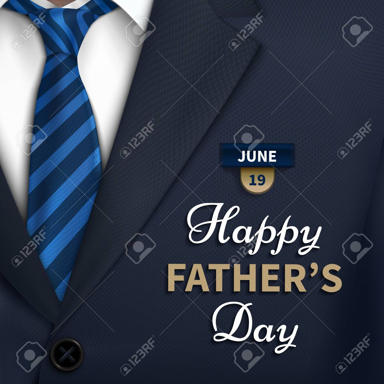 Happy Fathers Day greeting. Vector background with necktie,costume Good vector illustration - 92764085