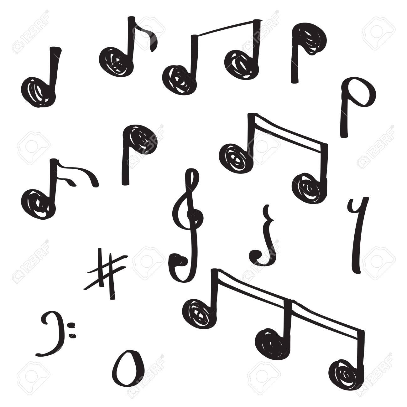 unique hand drawn doodle note music vector illustration - 137405221