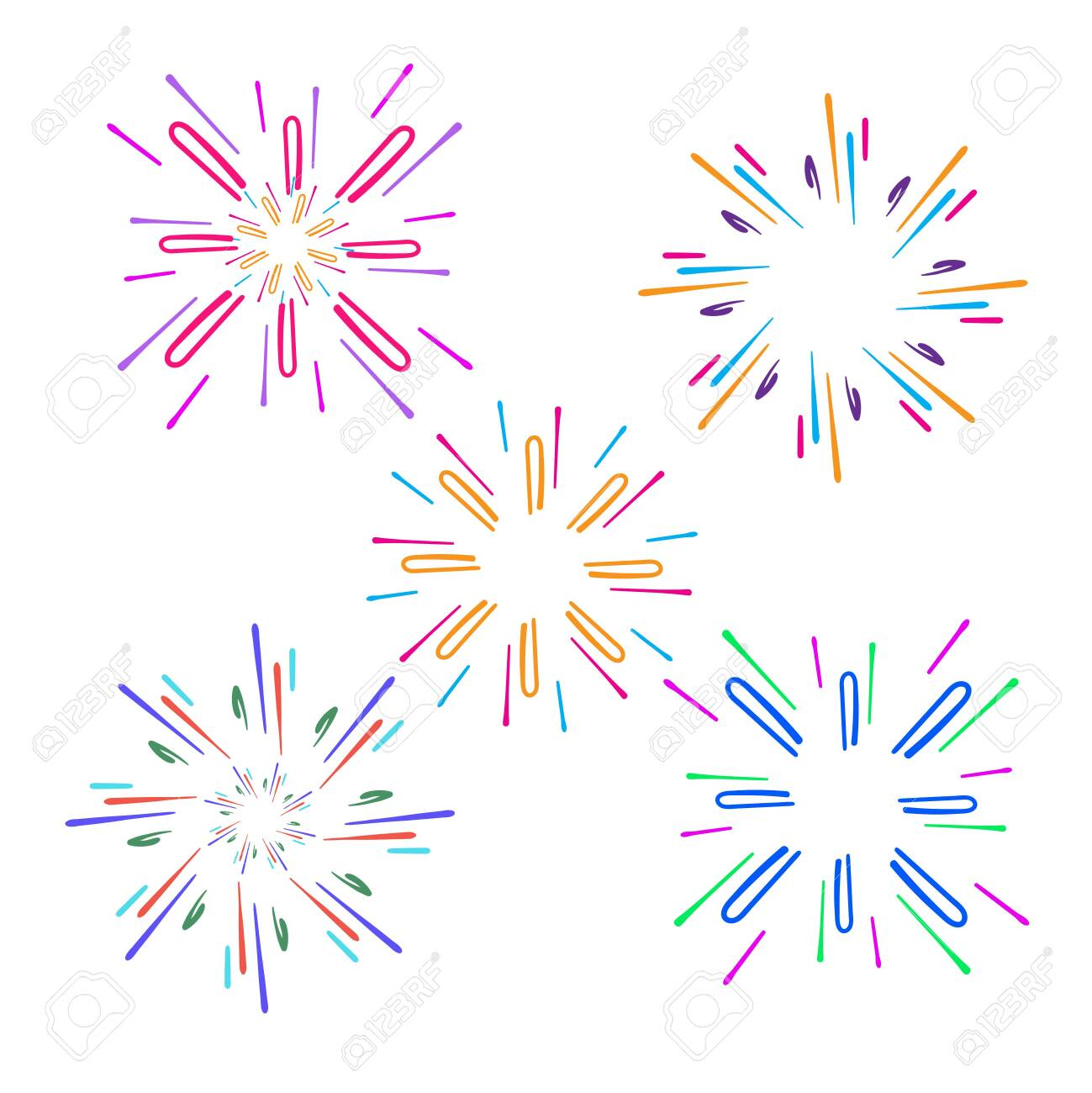 Festive fireworks. Celebration party firework, festival firecracker, holiday feast celebrated colorful sky fire explosion stars, birthday or Xmas celebrating isolated vector background with doodle - 137471741