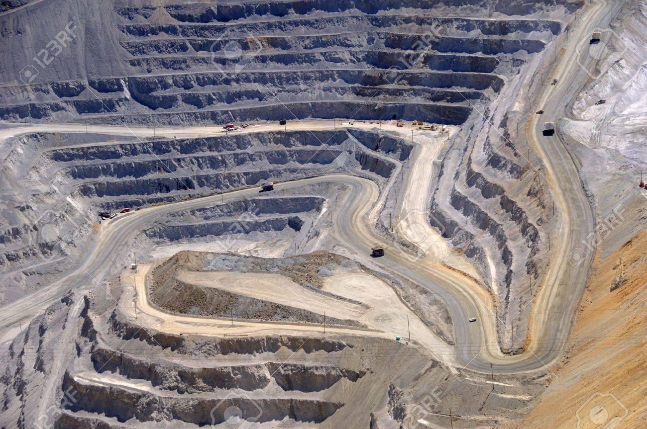 Close-up of Bingham Kennecott Copper Mine Open Pit Excavation - 7626384