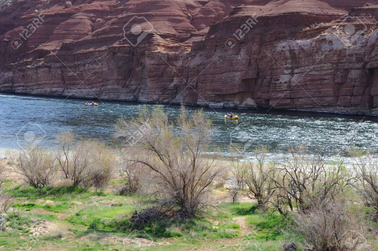 Rafters Floating Colorado River near Lees Ferry, entrance to Grand Canyon Stock Photo - 7676392