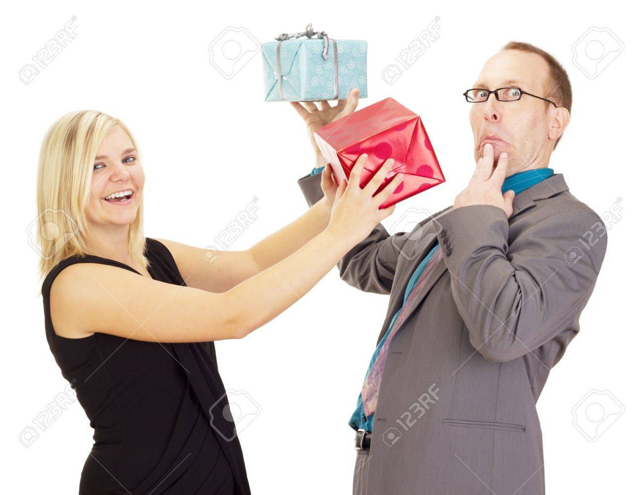 Two business people throwing their gifts Stock Photo - 15553079