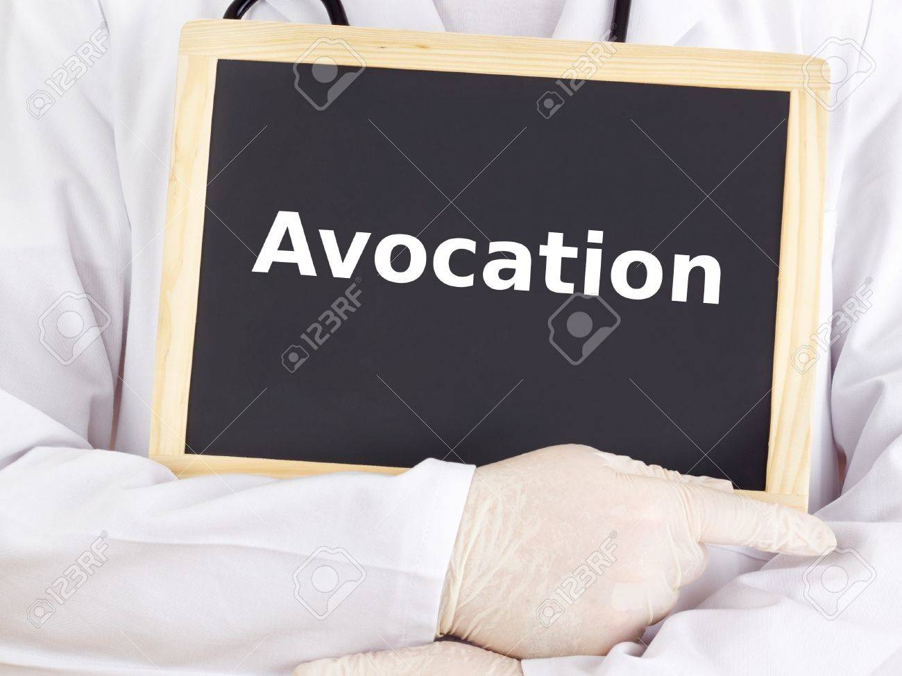 Doctor shows information on blackboard: avocation Stock Photo - 15925121