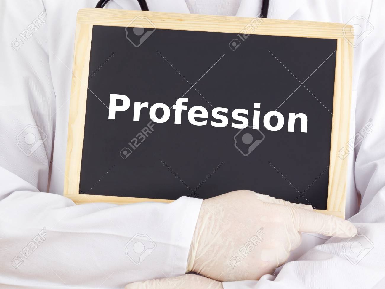 Doctor shows information on blackboard: profession Stock Photo - 15925157
