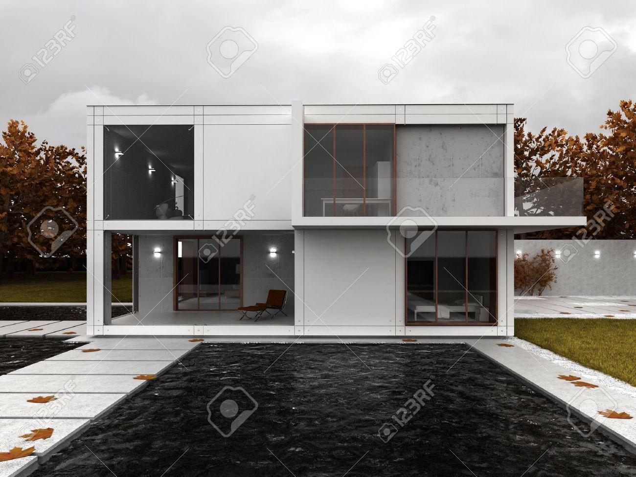 Sehr Modernes Haus Visualisierung, Zeitgenössische Architektur In ...