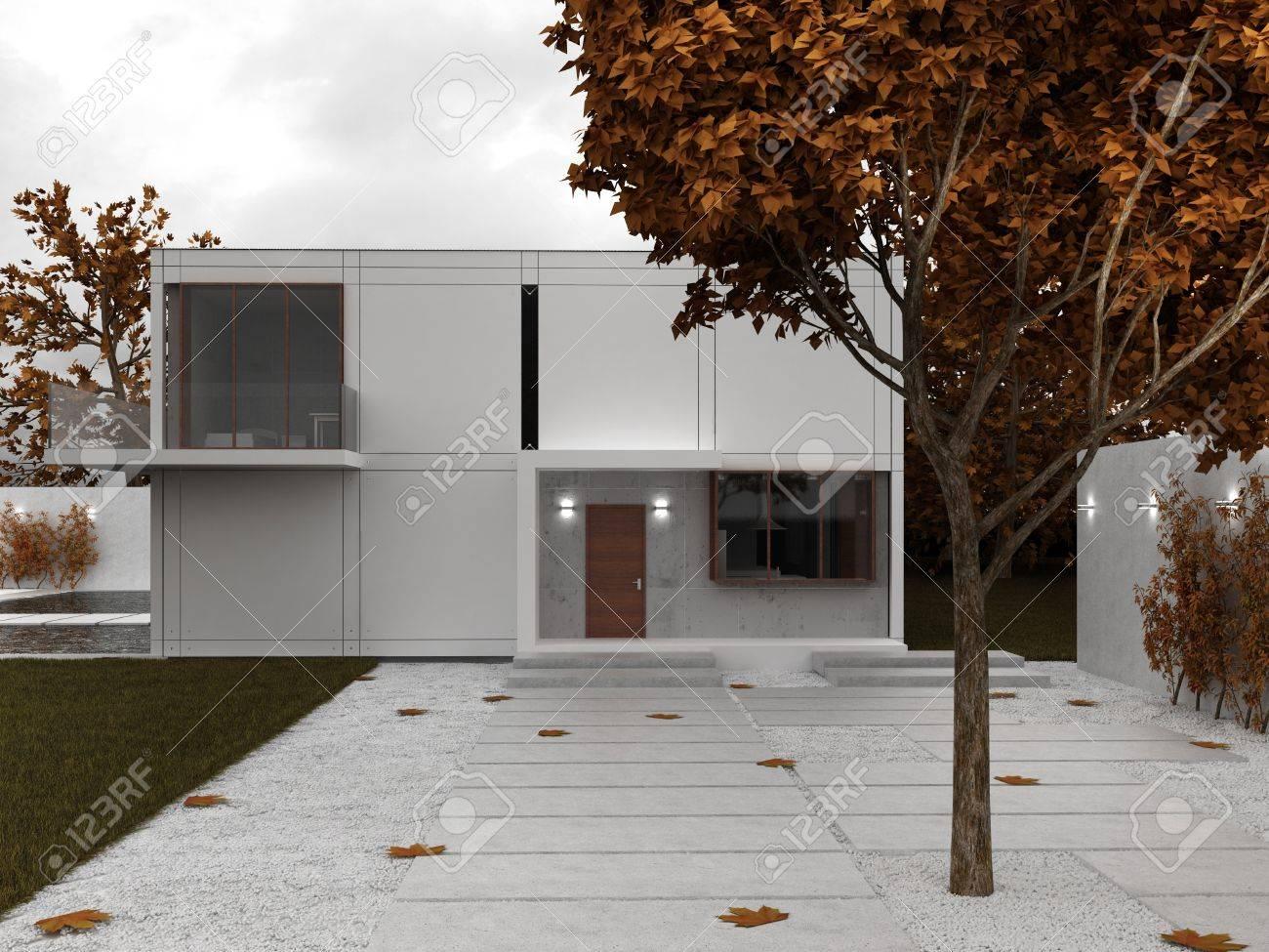 Modern House Visualization Front Yard View Autumn Scene Stock