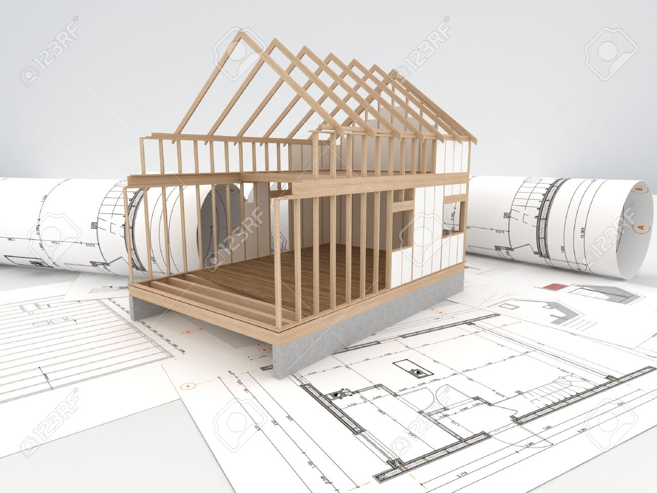 Architecture Houses Drawings design and construction of wooden house - architects technical