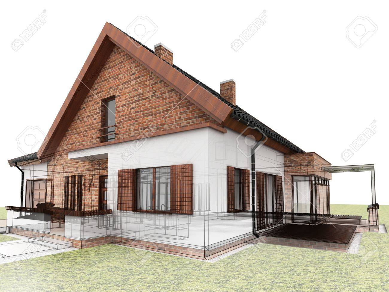 Classic House Design Progress, Architectural Drawing And Visualization  Stock Photo   16153220