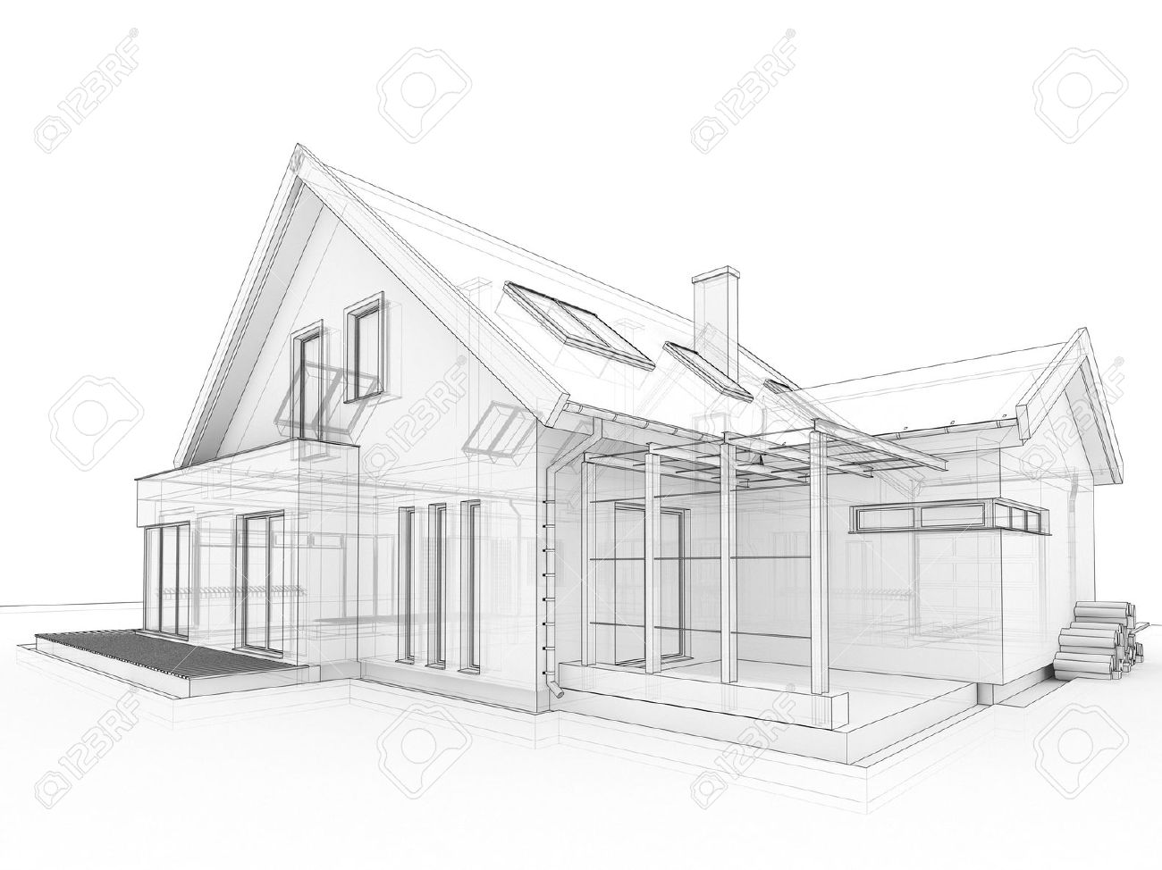 computer generated transparent house design visualization in computer generated transparent house design visualization in drawing style stock photo 16153168