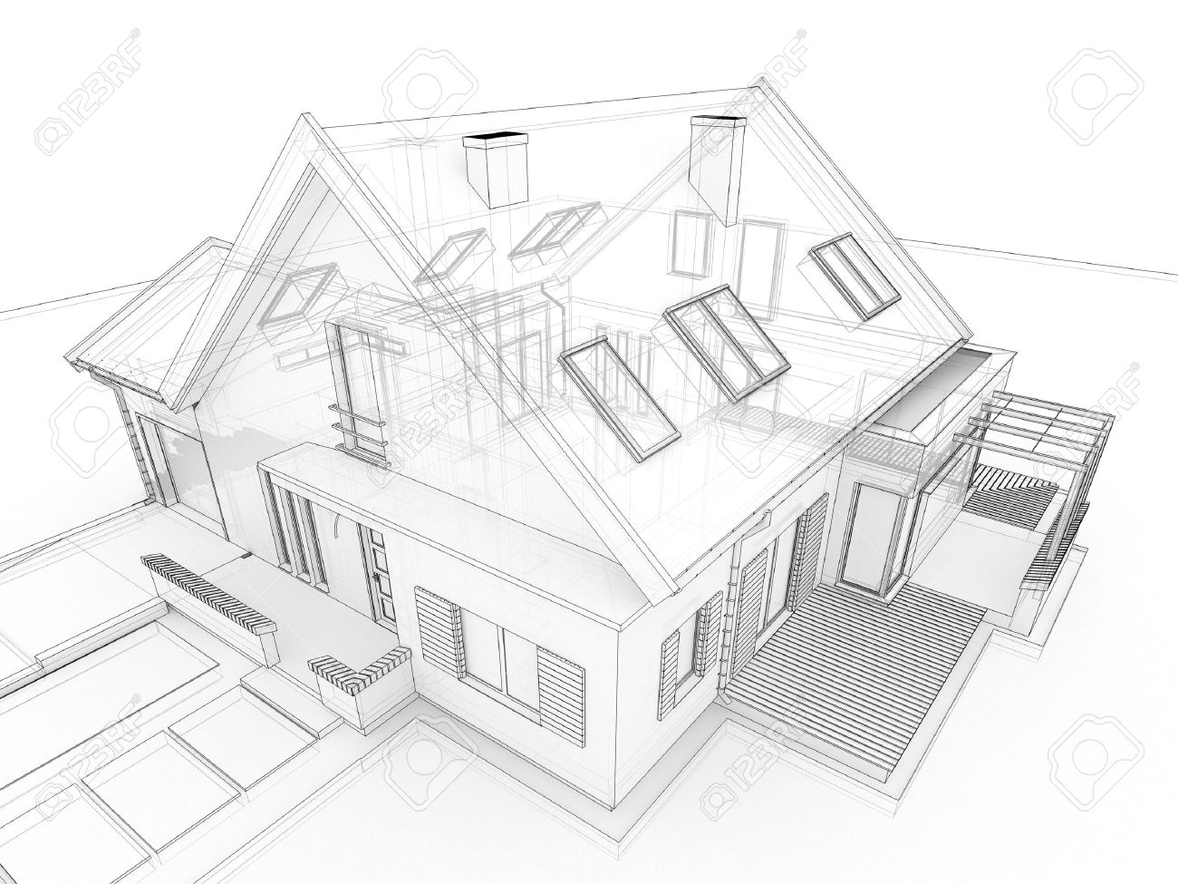 House design drawing - Computer Generated Transparent House Design Visualization In Drawing Style Stock Photo 16153205