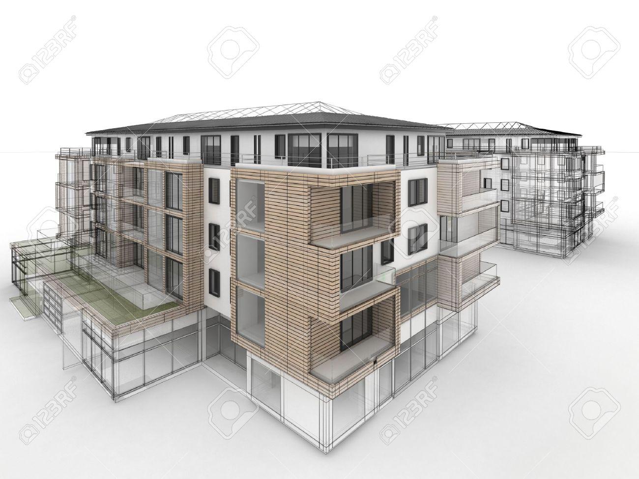 Apartment Building Drawing apartment building design progress, architecture visualization