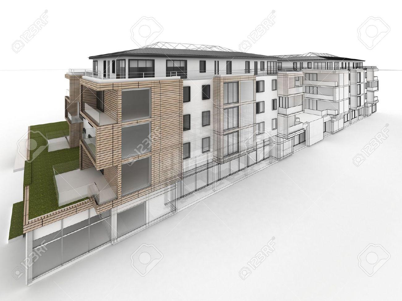 Progrès Conception Immeuble Dappartements De Visualisation Architecture En Dessin Et Photo Style Réaliste