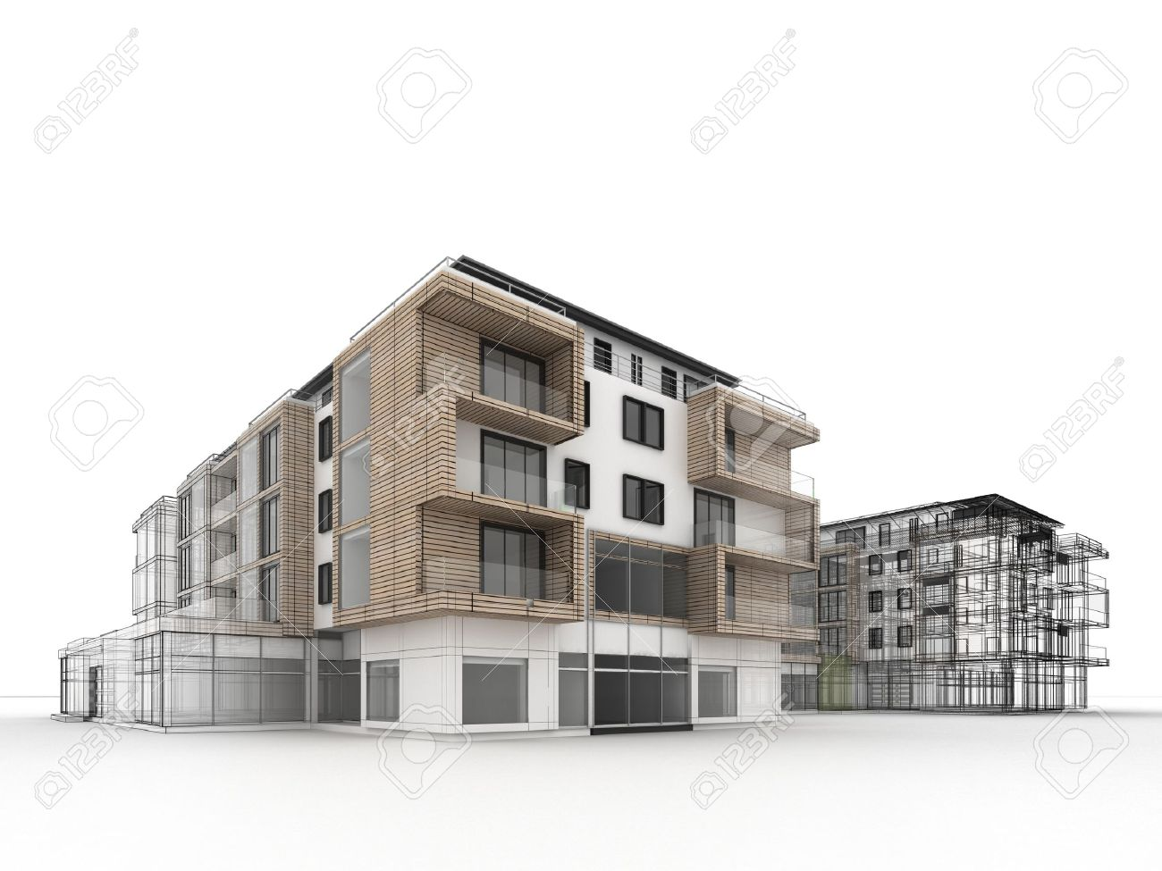 Apartment Building Design Progress Architecture Visualization In Mixed Drawing And Photo Realistic Style Stock
