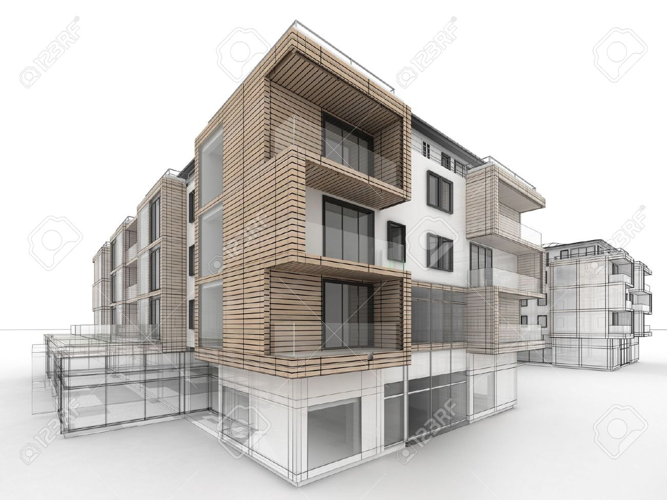 apartment building design progress, architecture visualization..