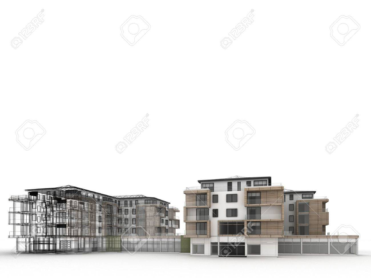 apartment building design progress, architecture visualization