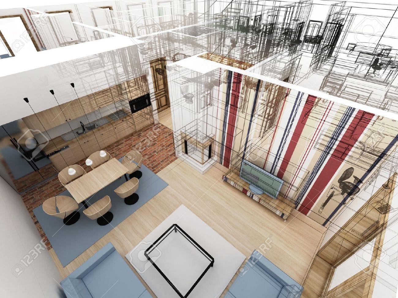 Housing And Interior Design Apartments Level Top View  Interior Design Processstock Photo