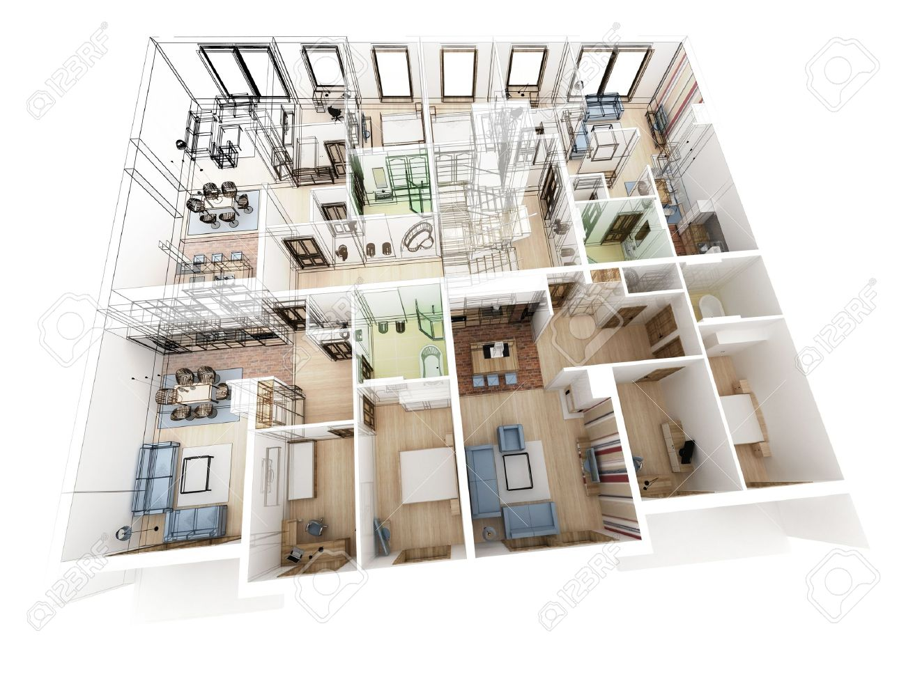 floor plan apartments level top view interior design process