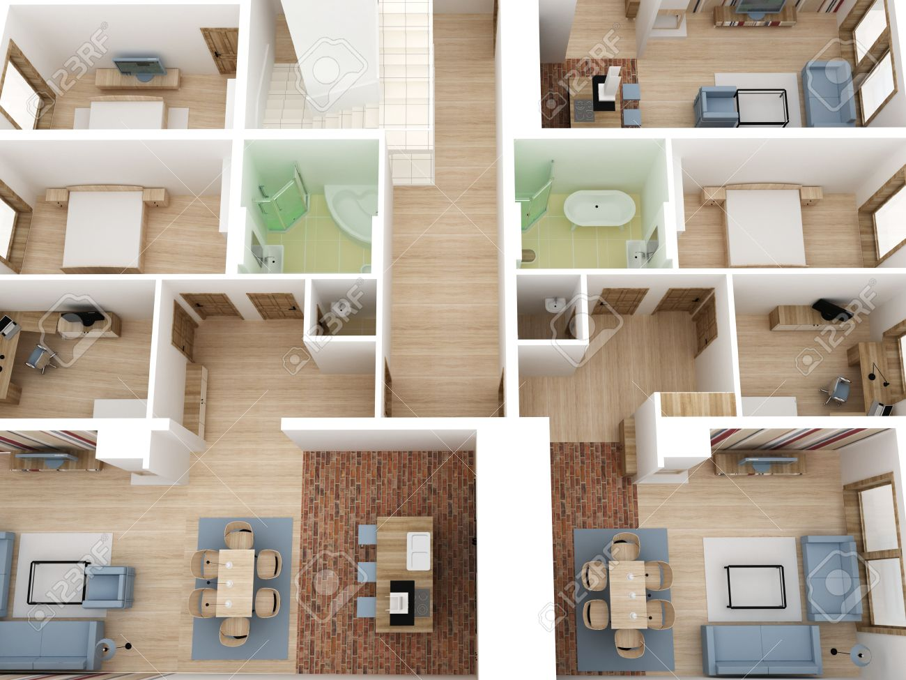 Apartments Level Top View Interior Design Process Stock Photo