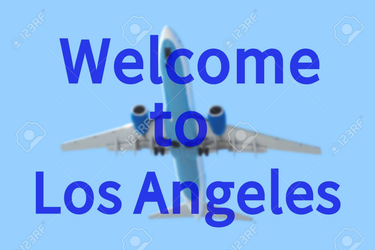 Fondo Enmascarado Con Avión De Pasajeros La Inscripción Bienvenido