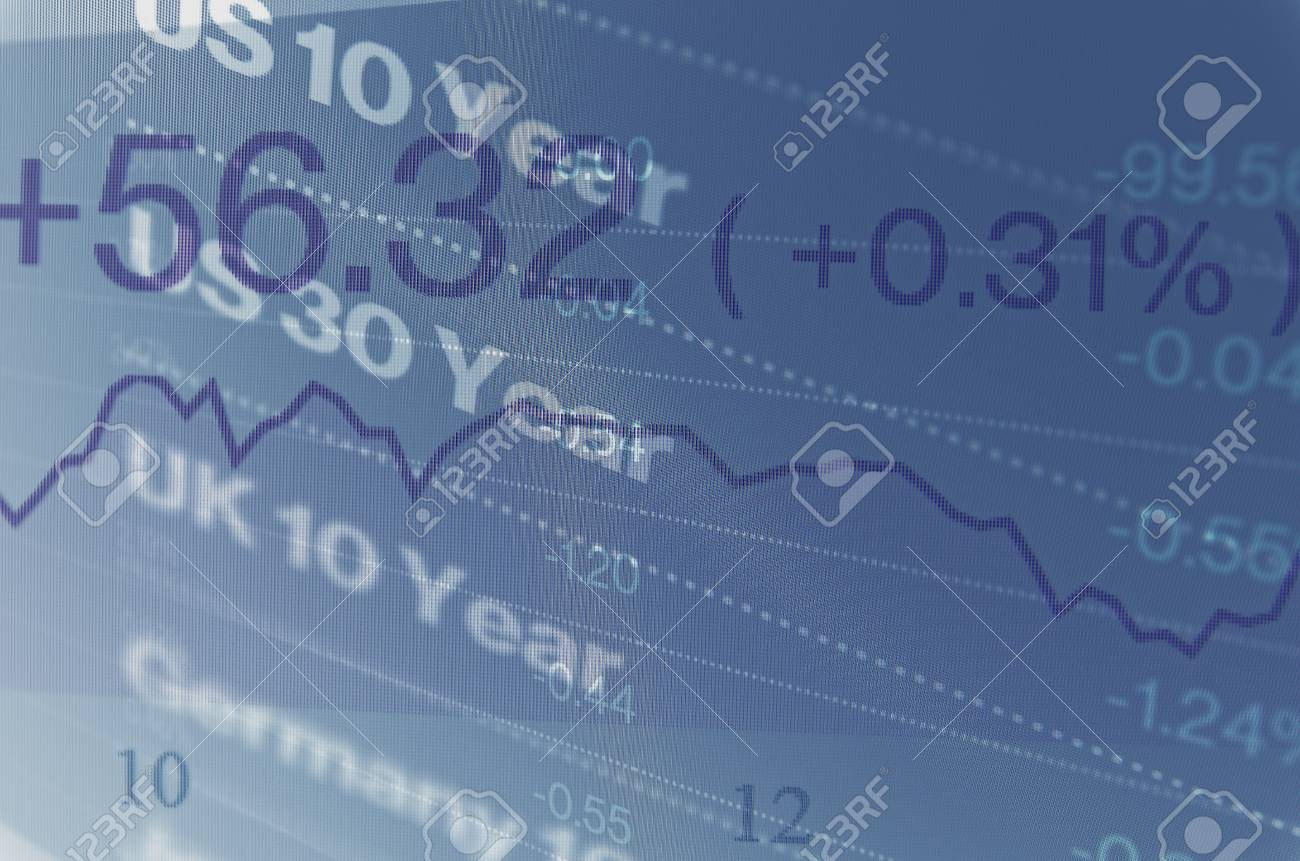 Macro photo of trading terminal on PC monitor. Financial data on PC screen. Multiple exposure. - 49119342
