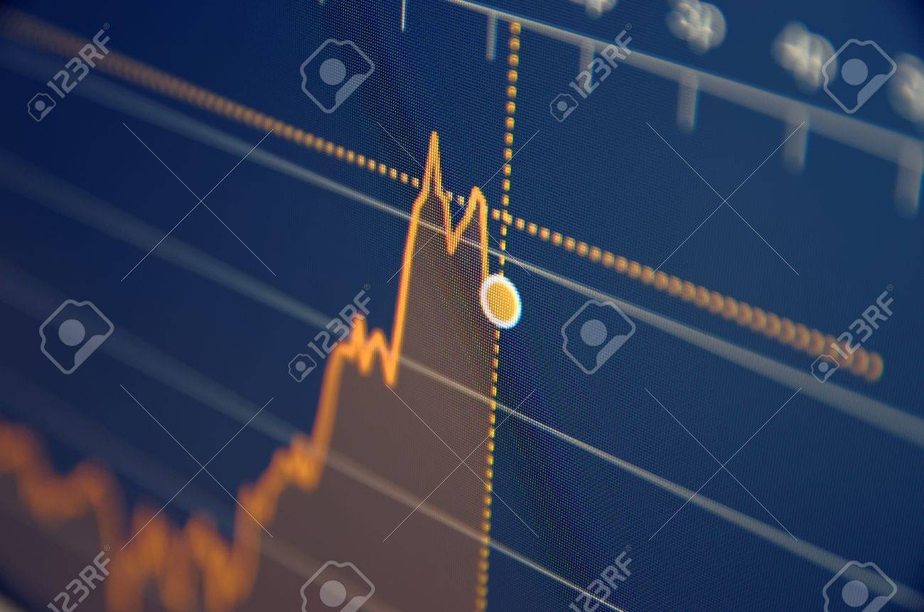 Stock market chart on LCD screen. Selective focus. - 53919012