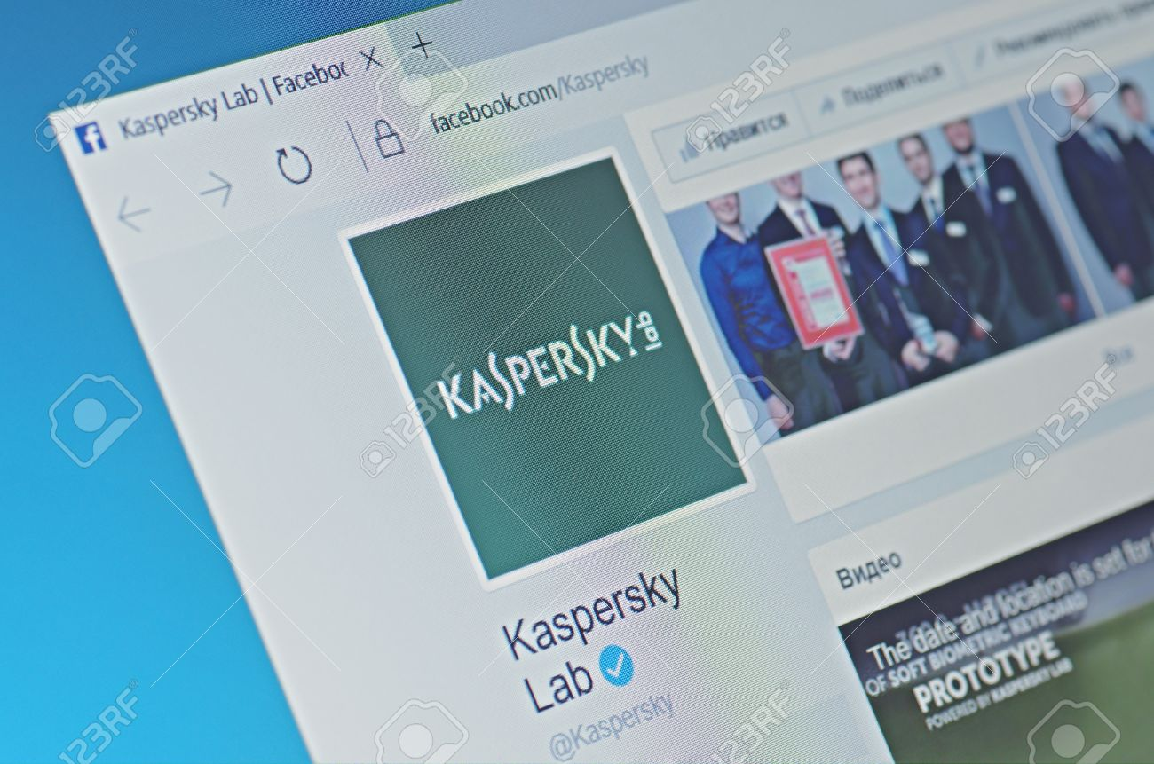 SARANSK, RUSSIA - FEBRUARY 06, 2017: Kaspersky Lab page on Facebook web site. Selective focus. - 77641503