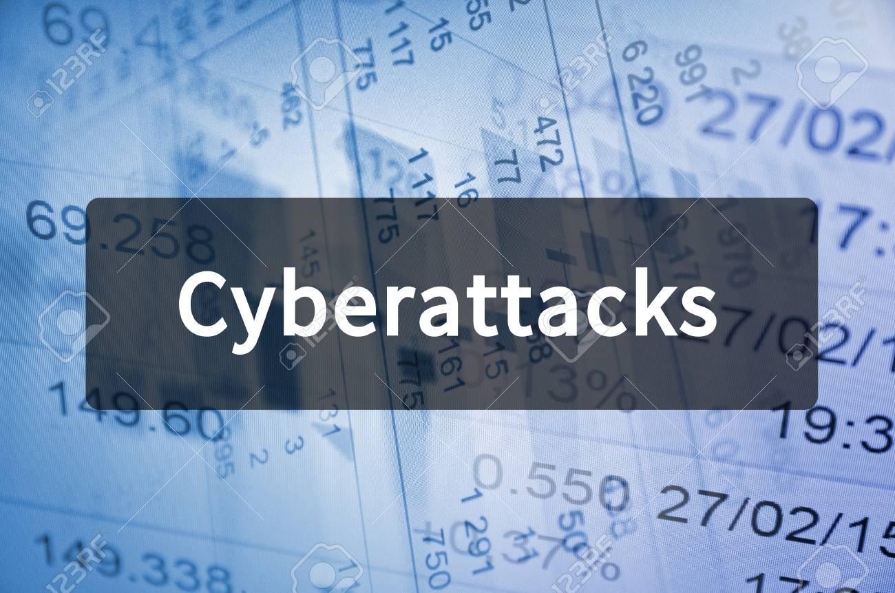 Cyberattacks written on translucent black space - 79300802