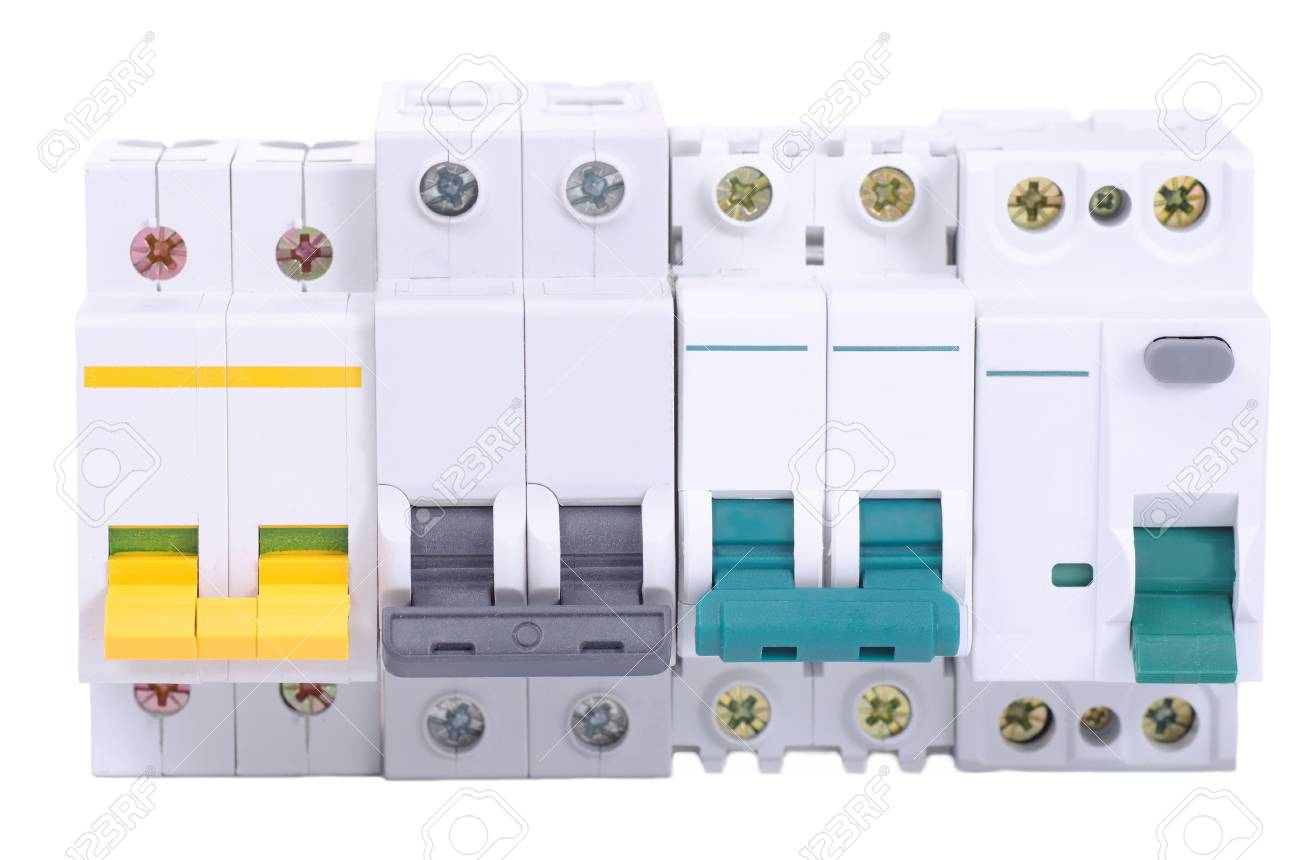 Miniature Circuit Breakers And Double Pole Residual Current Device Images Photos On White Background Stock