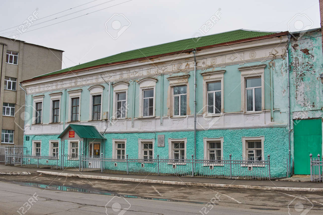 Saransk, Russia - April 11, 2021: One of the buildings of the Ogarev Mordovia State University. At the beginning of the 20th century, the Saransk real school was located there. - 172015694