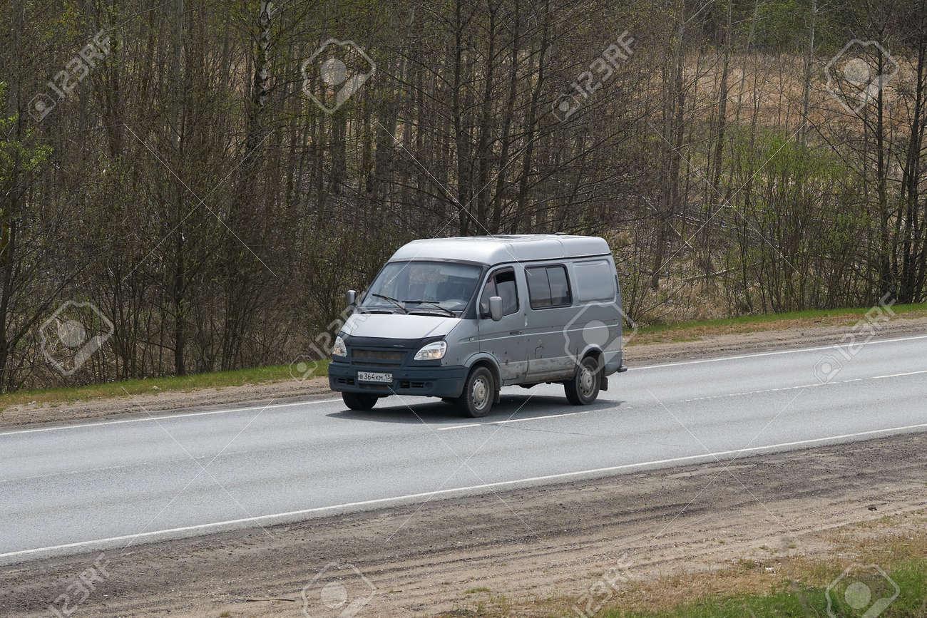 Ruzayevsky District, Mordovia, Russia - May 08, 2021: The Gaz Sobol on the intercity road. - 172015692