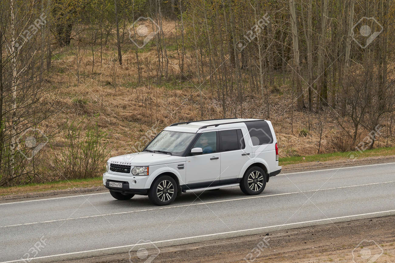 Ruzayevsky District, Mordovia, Russia - May 08, 2021: The Land Rover Discovery 4 on the intercity road. - 172016563