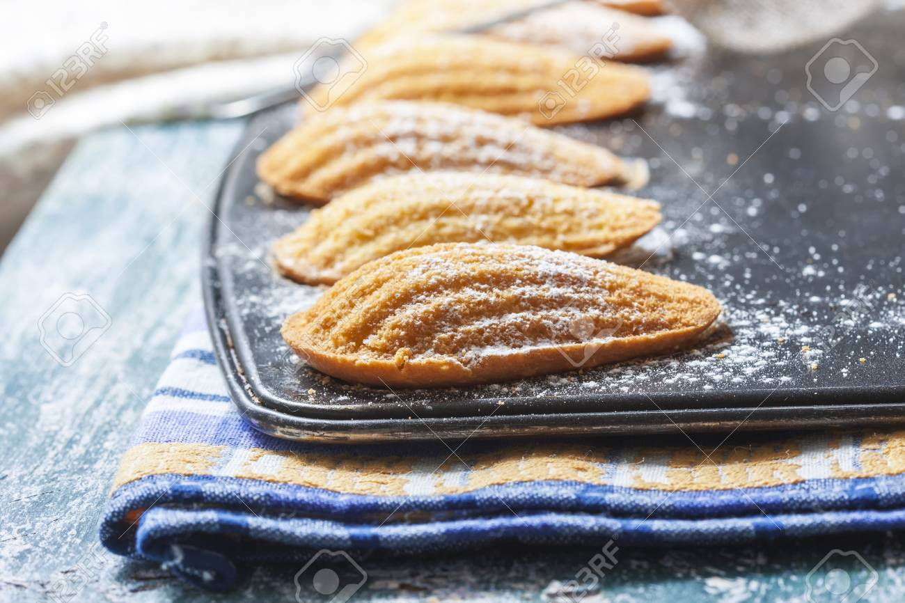 Homemade Traditional french madeleines cookies in a special madeleine mold on a wooden rustic table, selective focus - 56727794