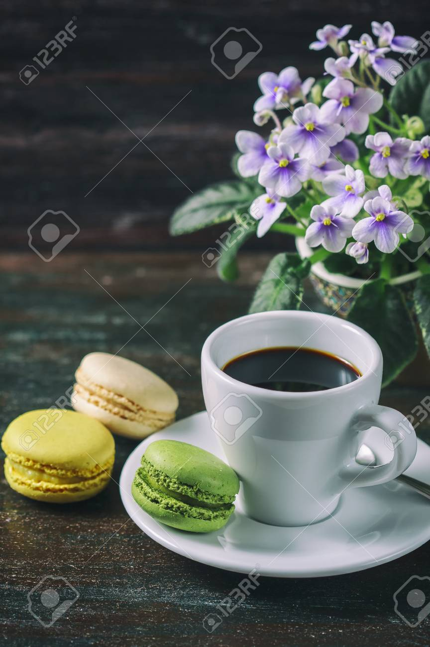 Beautiful Breakfast. Morning Cup Of Coffee With Colorful Macarons ...