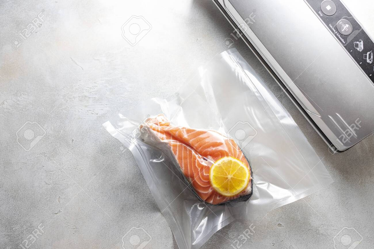 Salmon Fillets In A Vacuum Package Sous Vide New Technology