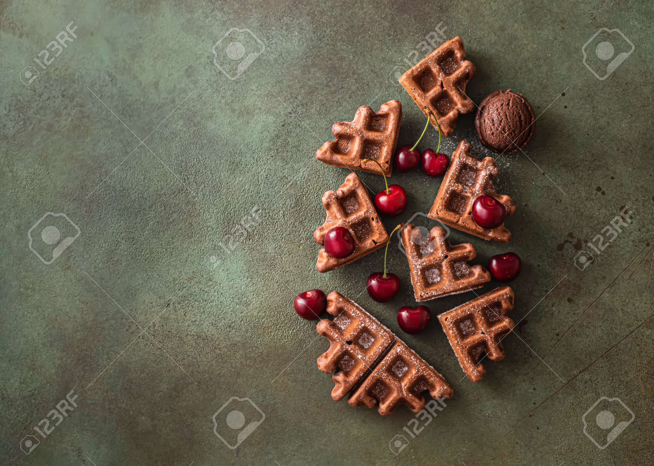 Homemade chocolate waffles with berries and chocolate ice cream. Delicious dessert or breakfast. Close-up - 171890471