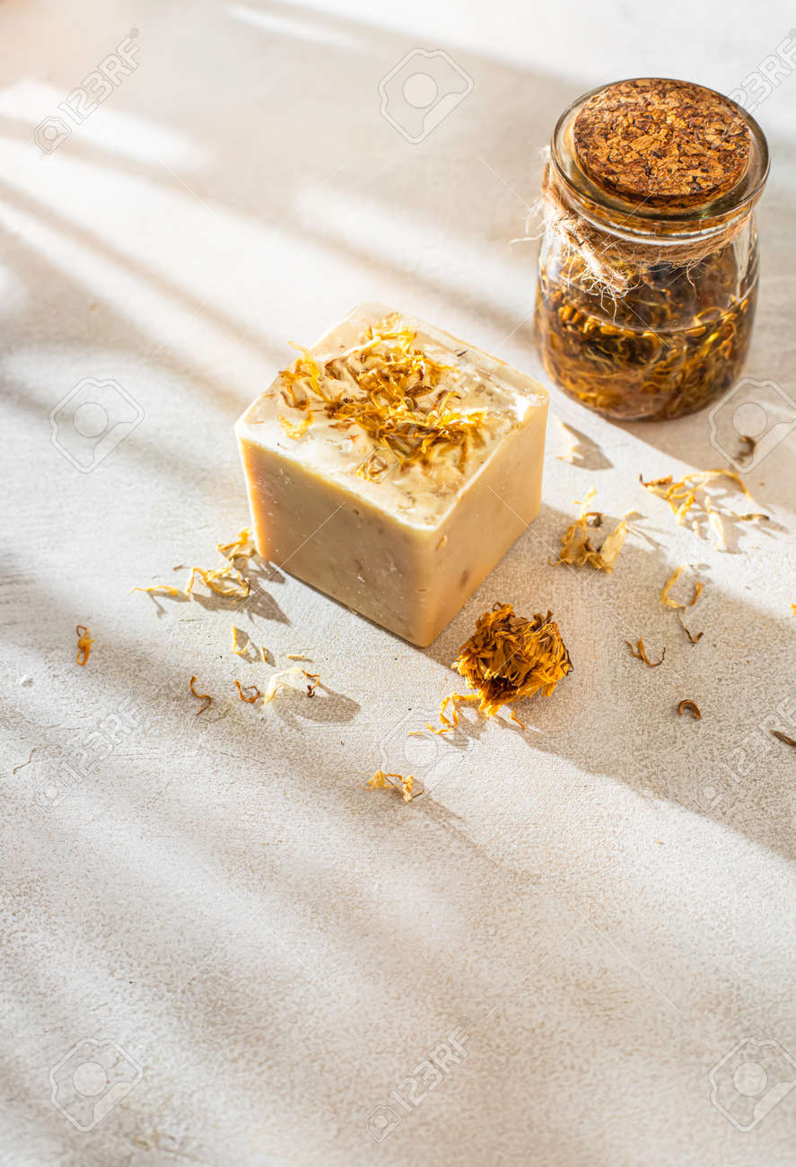 Organic homemade calendula herbal natural soap. Concept of home natural organic skin care. Spa treatments. Selective focus - 172320715