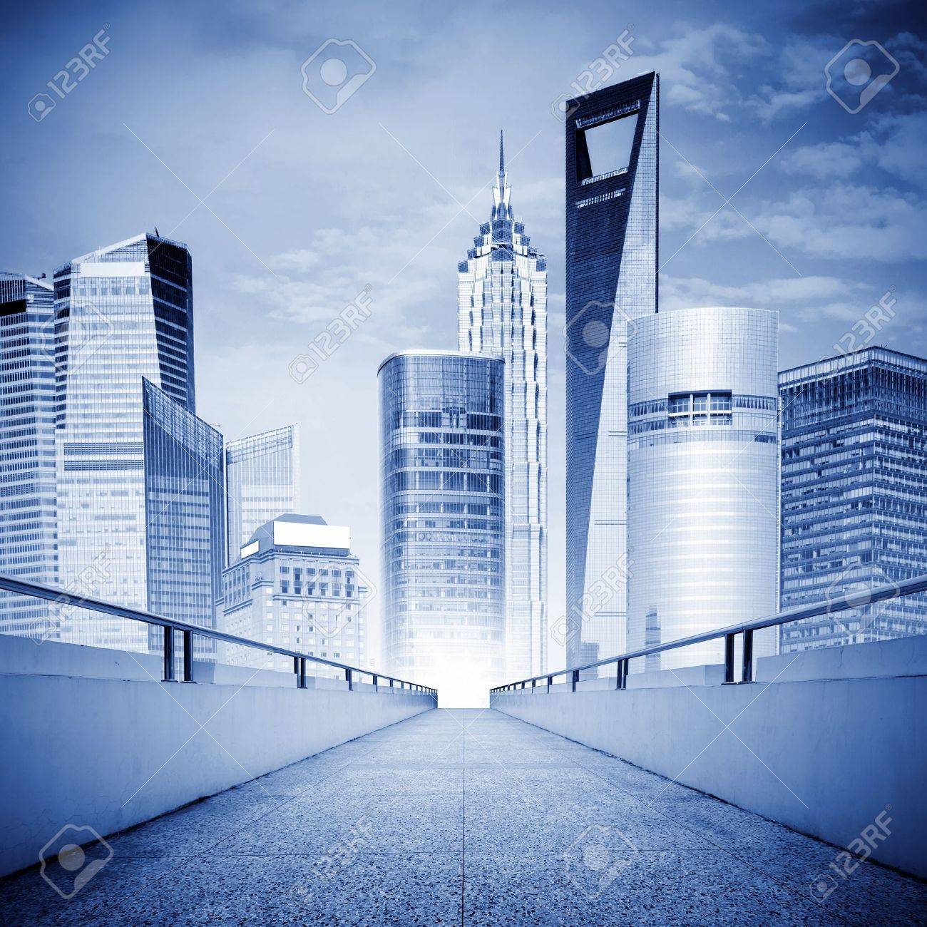A corridor leads to modern metropolis, exaggerated expressions. Stock Photo - 9803156