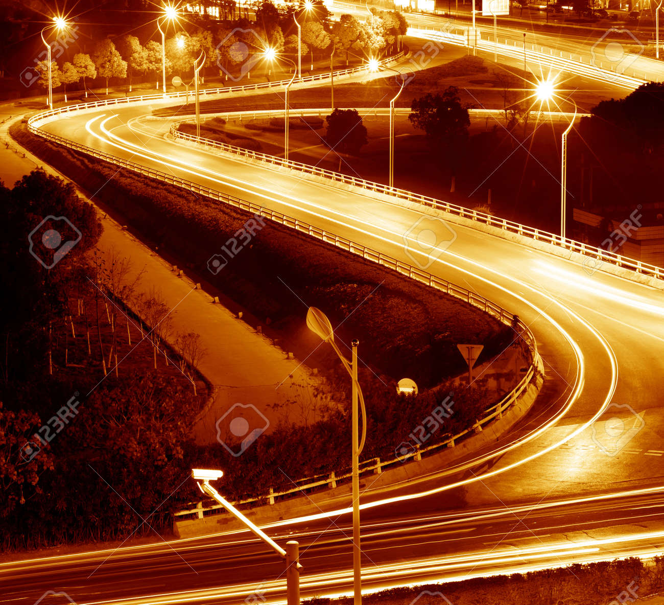 beautiful light trail at the busy highway Stock Photo - 12678982