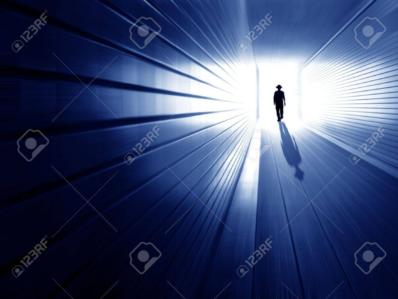 silhouette in a subway tunnel  Light at End of Tunnel Stock Photo - 12721249