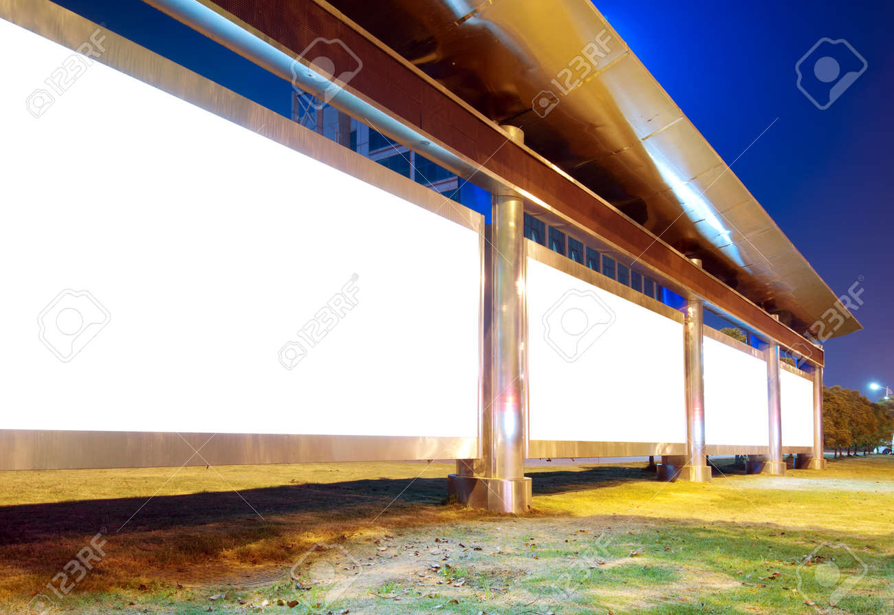 Big cities at night, roadside billboard blank. Stock Photo - 13307248