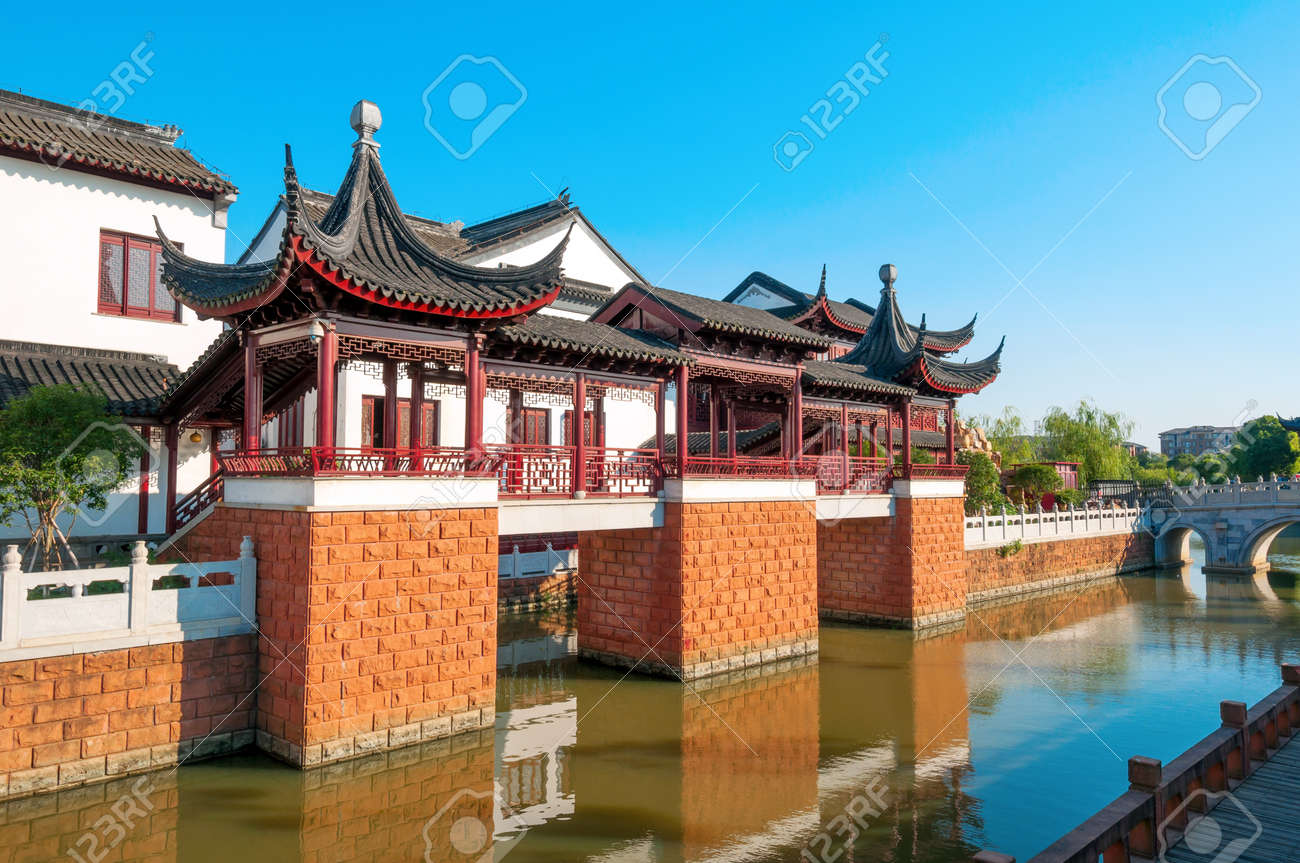 river of ancient chinese architecture stock photo, picture and