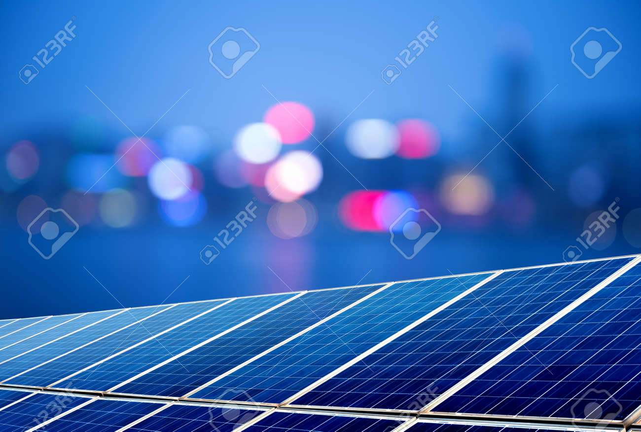 Urban landscape as the background of the solar panel Standard-Bild - 31312097