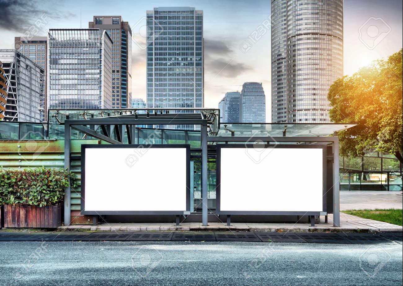 The blank side of the road city billboards Standard-Bild - 34657699
